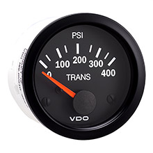 VDO Vision black 400 psi oil pressure gauge - use with sender - 12v