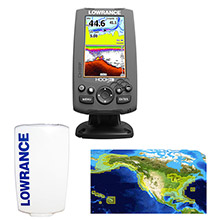 LOWRANCE HOOK%2D4 Combo w and 83 and 200 and 455 and 800 HDI Transom Mount Transducer Includes Cover Nautic Insight Chart