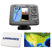 LOWRANCE HOOK%2D5 Combo w and 83 and 200 and 455 and 800 HDI Transom Mount Transducer Includes Cover Lake Insight Chart