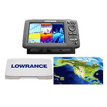LOWRANCE HOOK%2D7 Combo w and 83 and 200 and 455 and 800 HDI Transom Mount Transducer Includes Cover Lake Insight Chart