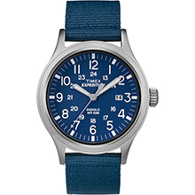 TIMEX Expedition scout watch - blue dial/tan strap