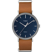 TIMEX Weekender fairfield 41mm slip-thru watch - black/tan leather