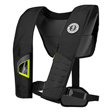 MUSTANG SURVIVAL Dlx 38 deluxe manual inflatable pfd - black/fluorescent yellow-green