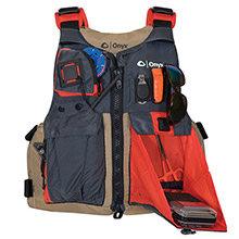 ONYX OUTDOOR Onyx Kayak Fishing Vest - Adult Oversized - Tan/Grey
