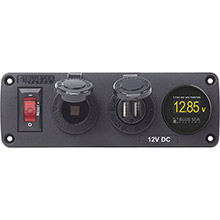 BLUE SEA Belowdeck panel - 15a circuit breaker, 12v socket, 2.1a dual usb charger, mini voltmeter