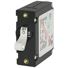 BLUE SEA A-series white toggle circuit breaker - single pole 2.5a