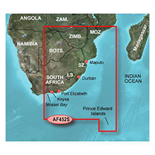 GARMIN Africa - Knysna, SA to Beira, MZ, (HAF452S), BlueChart g2 map on Datacard