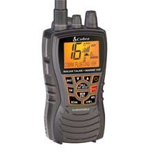 COBRA Marine Radio Dual VHF and GMRS Floating Handheld Radio %2D Grey