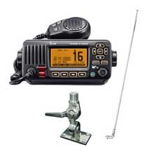 ICom VHF M324 black w and antenna and mount