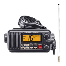 ICOM VHF, Basic, Black w/8ft 6db VHF Antenna
