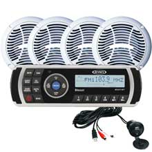 Jensen CPM200 AM and FM and USB Waterproof Bluetooth Stereo Package w and MS2013BT Aux Input 4%2DAMS602W Speakers