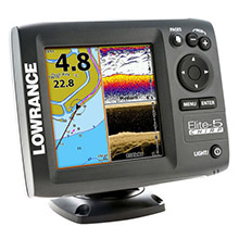 LOWRANCE Elite-5 CHIRP COMBO Gold, 83/200 and 455/800 Transducer