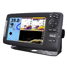 LOWRANCE Elite%2D9 CHIRP Fishfinder and Chartplotter 83 and 200 and 455 and 800 HDI Transom Mount Transducer Navionics plus Chart