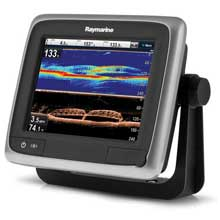 RAYMARINE A68 5.7 inch Combo GPS Fishfinder Downvision with Transom Mount Transducer and Navionics North America Gold Chart