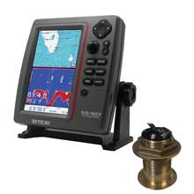 SI-TEX SVS-760CF Dual Frequency Chartplotter/Sounder w/ Navionics, Flexible Coverage and Bronze 12 Degree Transducer