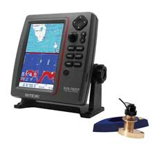 SI-TEX SVS-760CF Dual Frequency Chartplotter/Sounder w/ Navionics, Flexible Coverage and Bronze Thru-Hull Triducer