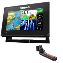 SIMRAD GO7 XSE chartplotter fishfinder with TotalScan transom mount transducer