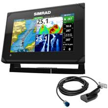 SIMRAD GO7 XSE chartplotter fishfinder with HDI transom mount transducer