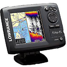 LOWRANCE Elite%2D5 Gold Combo with 83 and 200 KHz Transom Mount Transducer