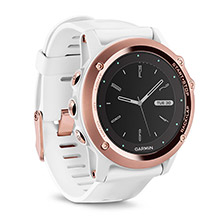 GARMIN Fenix 3 Sapphire Rose Gold-tone Watch with White Band