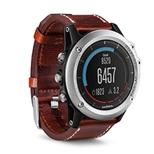 GARMIN Fenix 3 Sapphire Silver Watch with Leather Band