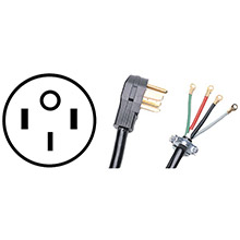 CERTIFIED APPLIANCE ACCESSORIES 4-Wire Closed-Eyelet 50-Amp Range Cord with 3in Longer Ground Wire, 4ft