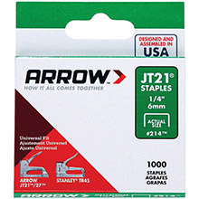 ARROW Thin Wire Staples, 1,000 pk (1/4in)