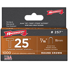 ARROW T25 Round Crown Staples, 7/16in- 1,000 pk
