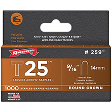 ARROW T25 Round Crown Staples, 9/16in- 1,000 pk