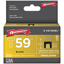 ARROW Black T59 Insulated Staples for RG59 quad, RG6, 5/16in x 5/16in, 300 pk