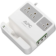 APC 3-Outlet SurgeArrest Surge Protector with 3 USB Ports (White)