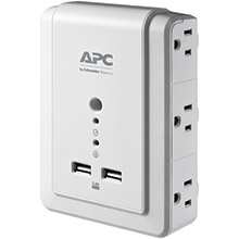 APC 6-Outlet SurgeArrest Surge Protector Wall Tap with 2 USB Ports