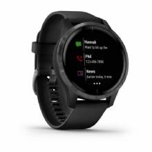 GARMIN Venu %2D Slate Stainless Steel Bezel with Black Case and Silicone Band