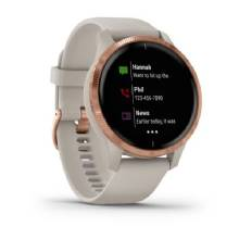 GARMIN Venu %2D Rose Gold Stainless Steel Bezel with Light Sand Case and Silicone Band
