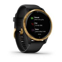 GARMIN Venu %2D Gold Stainless Steel Bezel with Black Case and Silicone Band