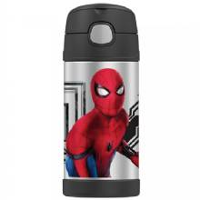 THERMOS FUNtainer Stainless Steel, Insulated Straw Bottle - Spiderman Homecoming - 12 oz.